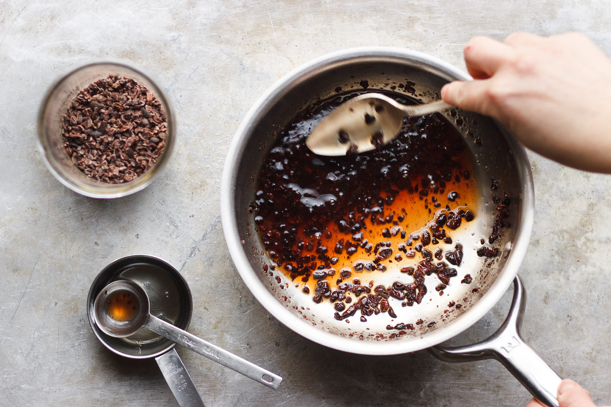 Coconut Panna Cotta with Salty Maple Cacao Nibs | Vegan and gluten-free panna cotta made with coconut milk, agar agar and lightly sweetened and topped with salty maple cacao nibs.