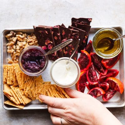 A Snack Board for Two with Olive Oil Whipped Ricotta Bites | A snack board for two is how you share sweet and savory bites with someone you love. It's perfect for Valentine's Day, anniversaries or a date night in.