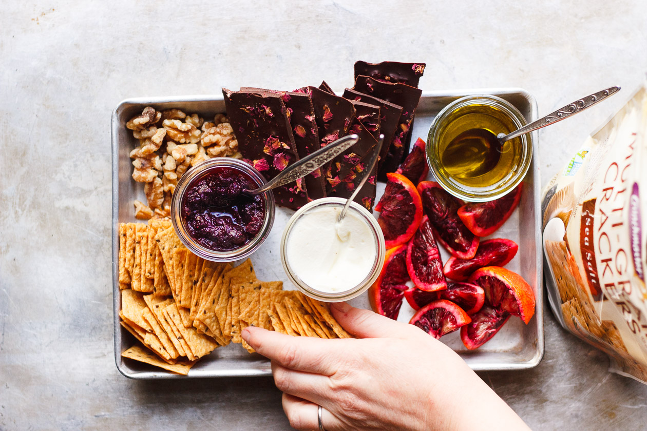 A Snack Board For Two with Olive Oil Whipped Ricotta Bites
