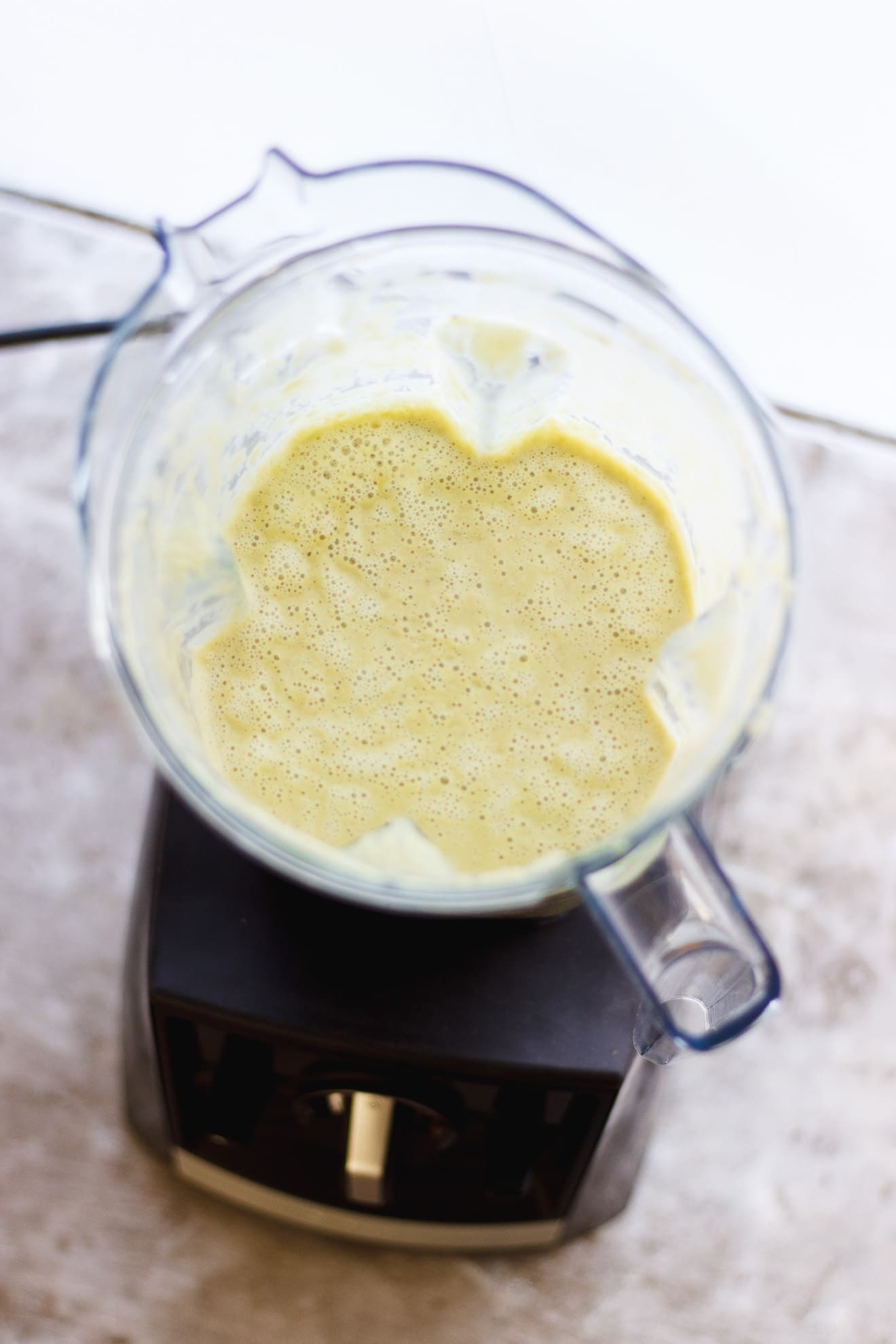 vegan cream of celery soup in a blender
