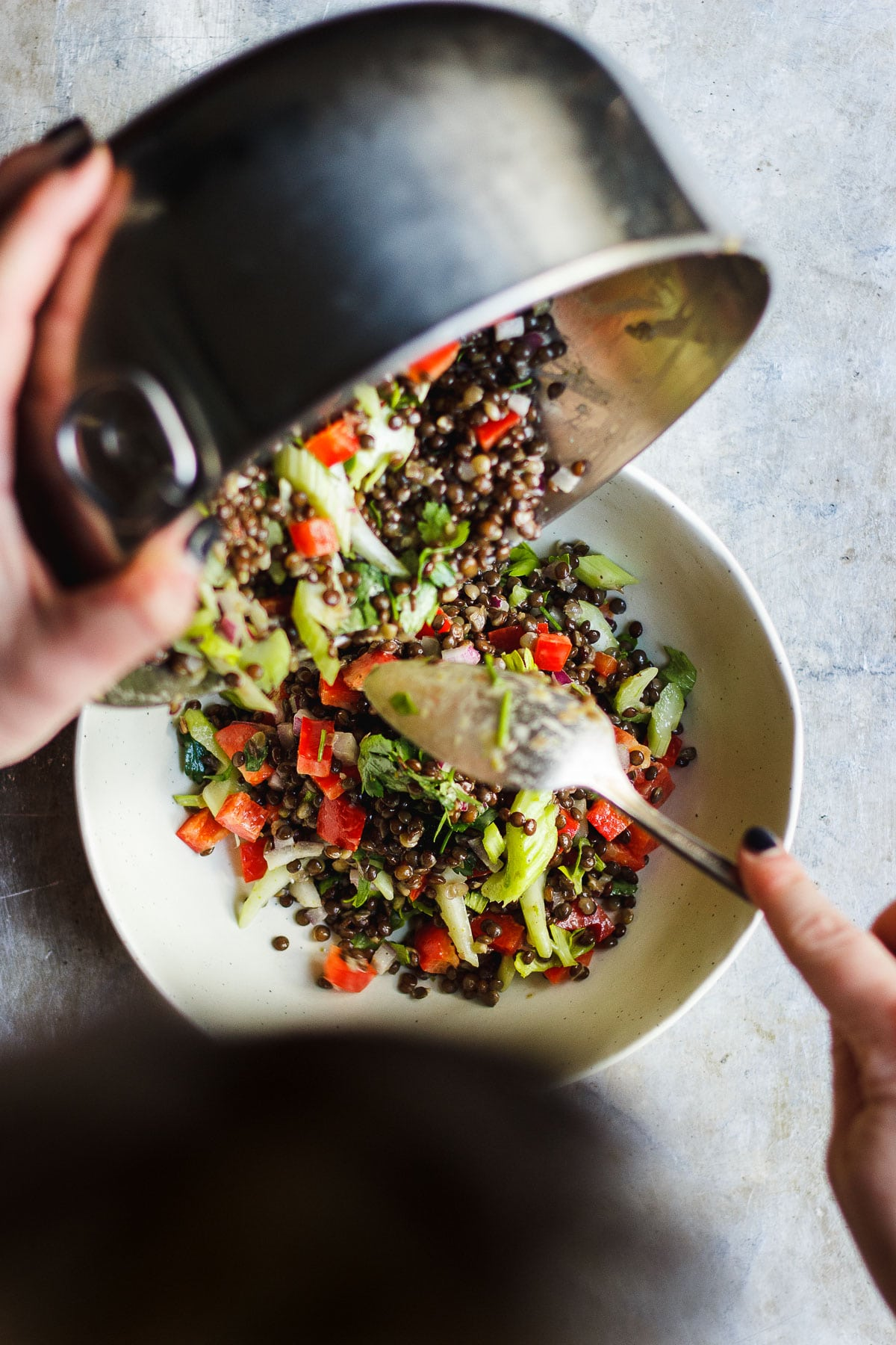 mixing bowl with lentil salad