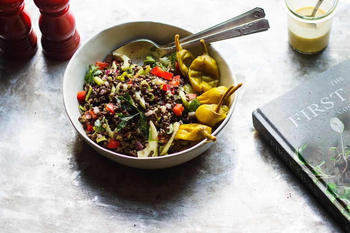 lentil salad with pepperoncini dressing