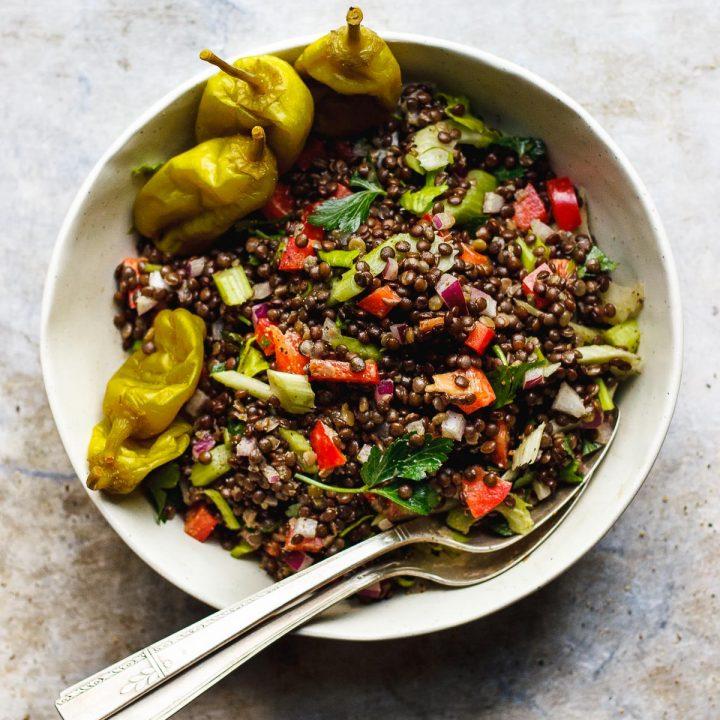 Crunchy Lentil Salad with Pepperoncini Dressing