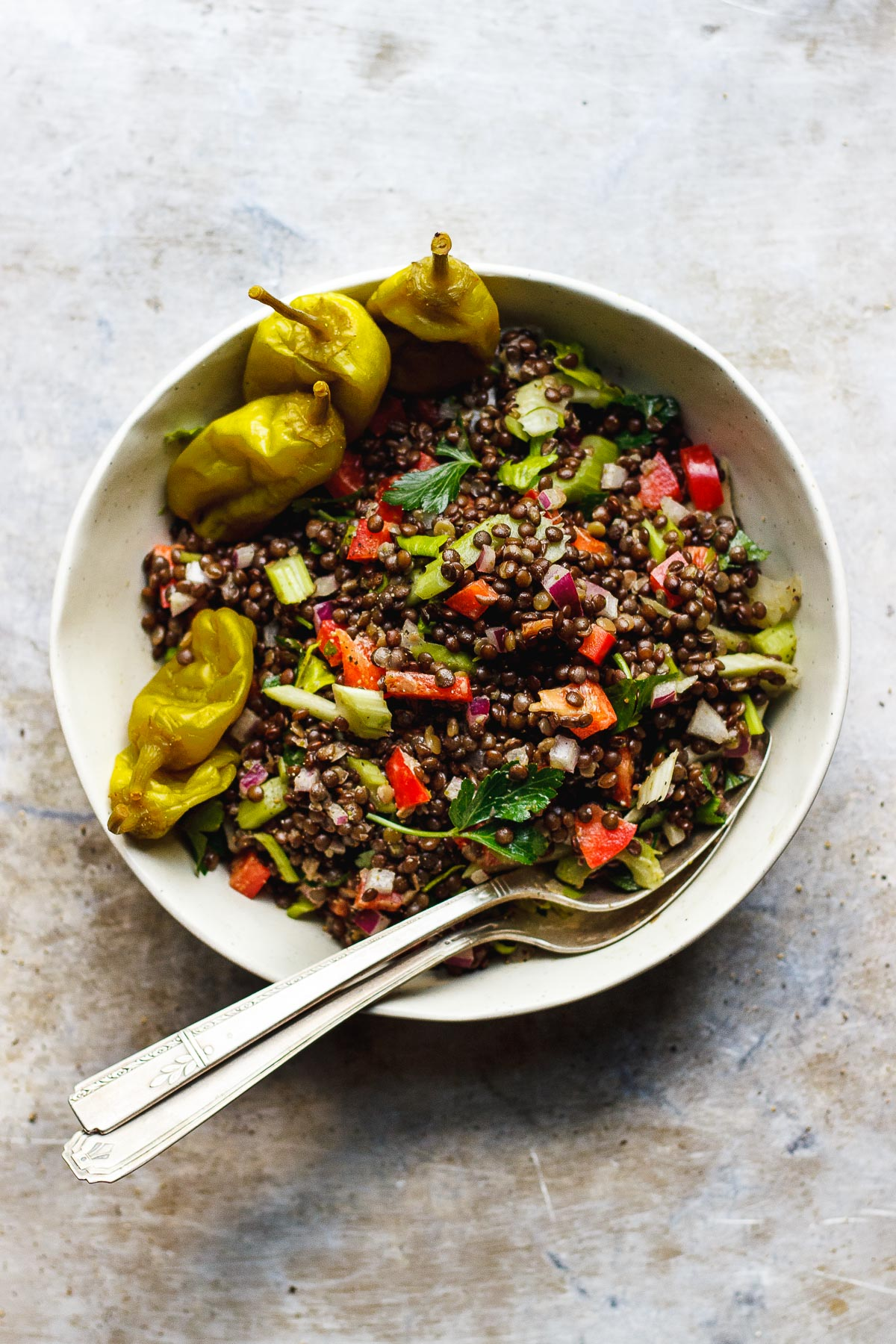 CRUNCHY LENTIL SALAD WITH PEPPERONCINI DRESSING