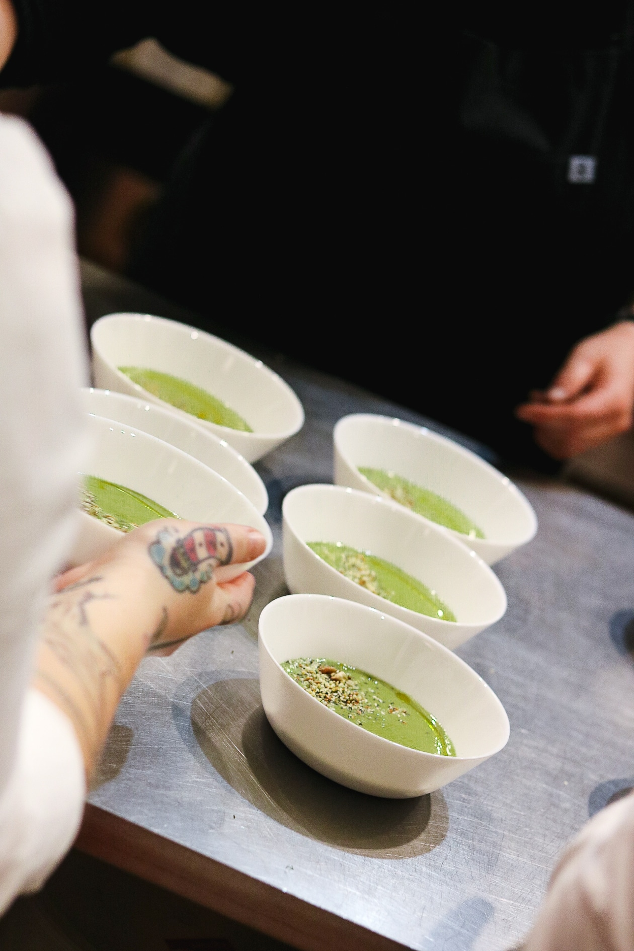 Spring Allium Soup with Hemp Seed Dukkah | Leek, green garlic, scallions, garlic, all the alliums combined for a Chilled spring allium soup. Made naturally gluten-free and vegan with hemp seeds.