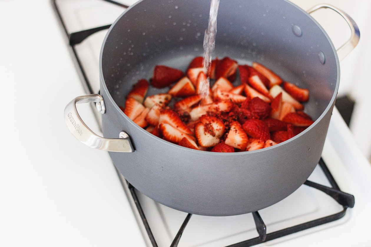 strawberries in pot on the stove