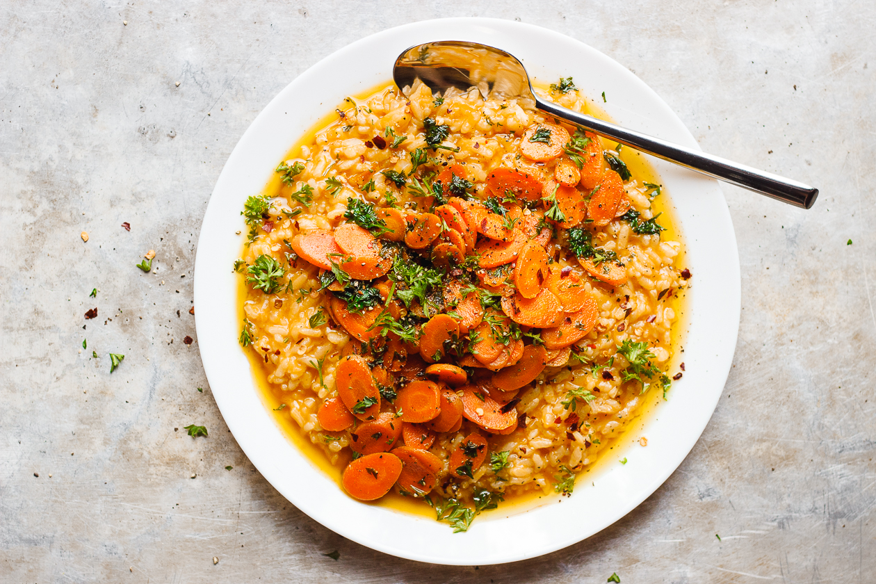 No-Stir Risotto with Herbed Caramelized Carrots