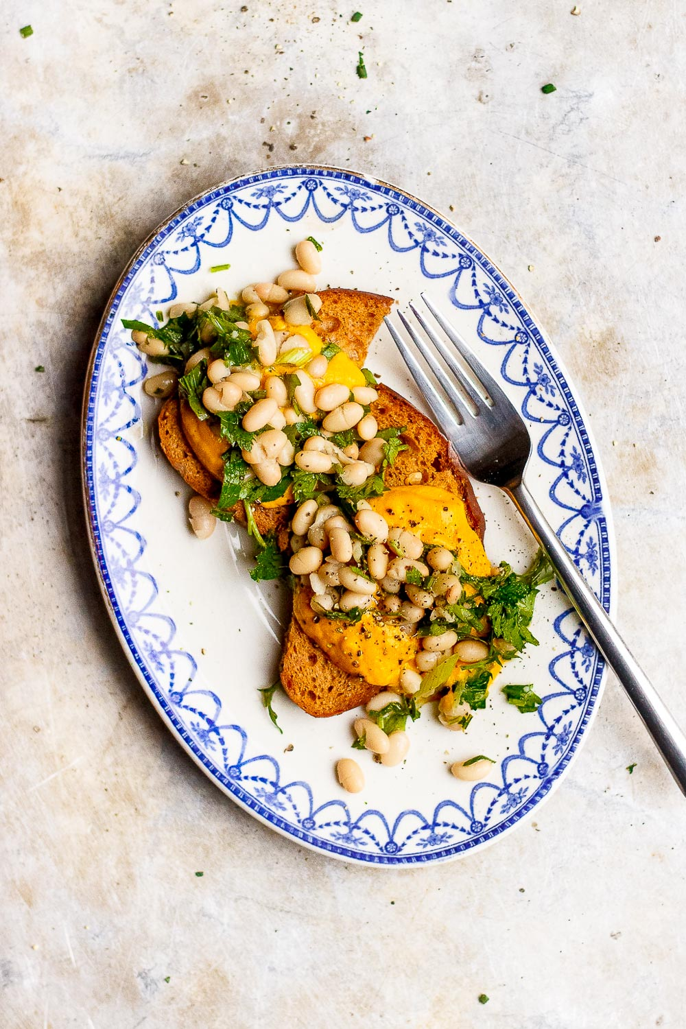 butternut squash sauce on toast with beans