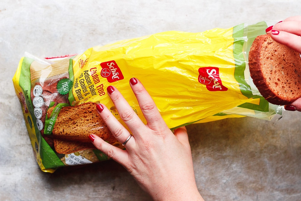 pulling bread from bag