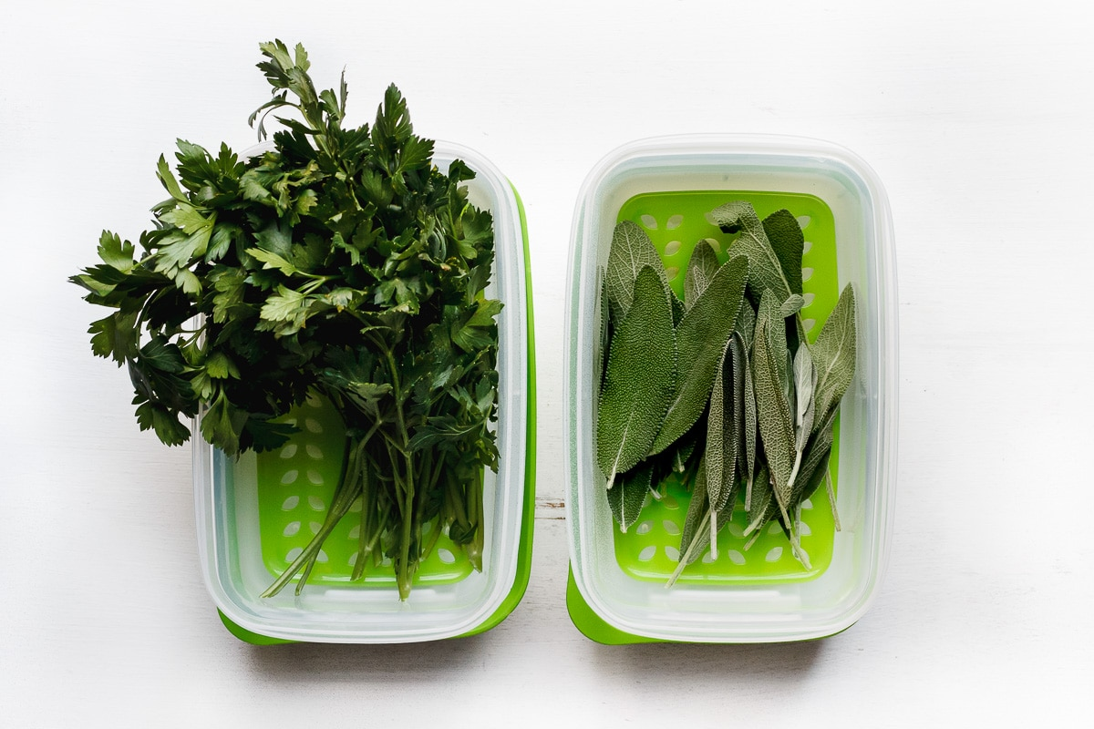 herbs in rubbermaid containers