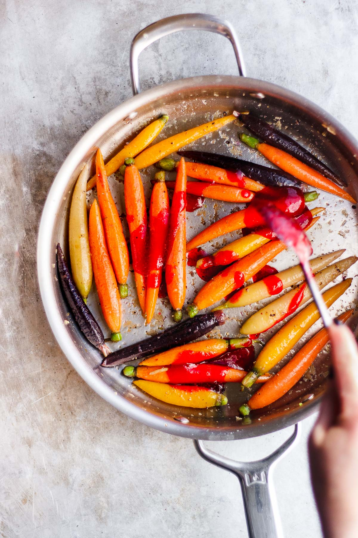 glazed carrots in a pan