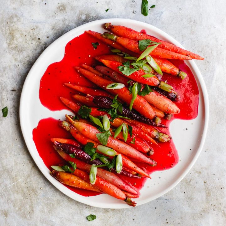 Cranberry Glazed Carrots with Pink Peppercorns