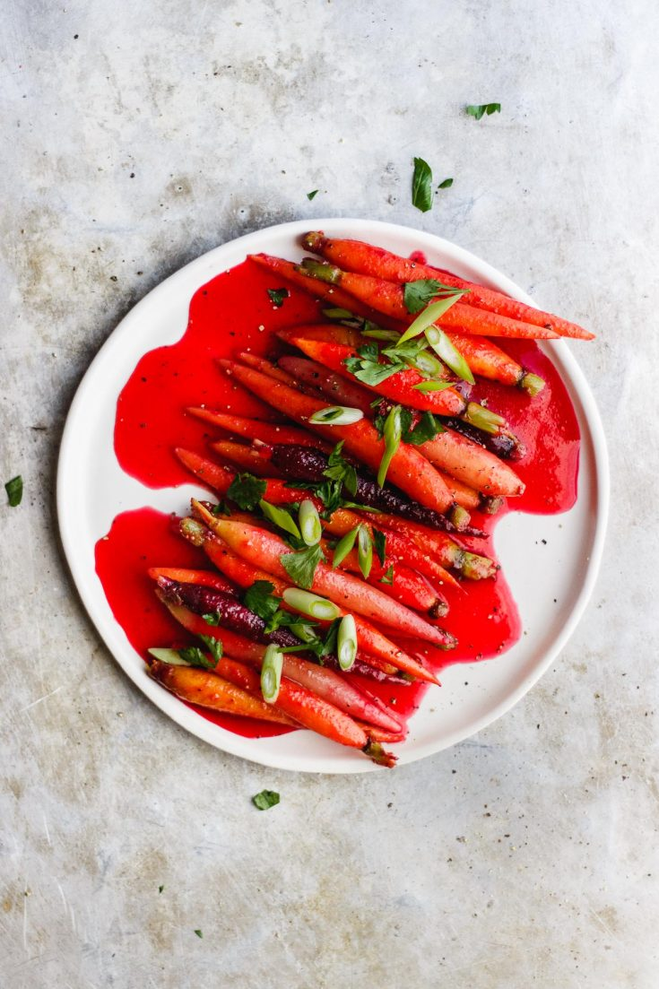 Cranberry Glazed Carrots with Garlic and Pink Peppercorns