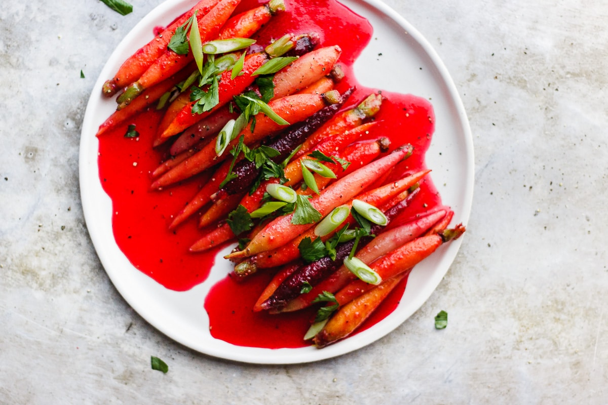 cranberry glazed carrots with herbs