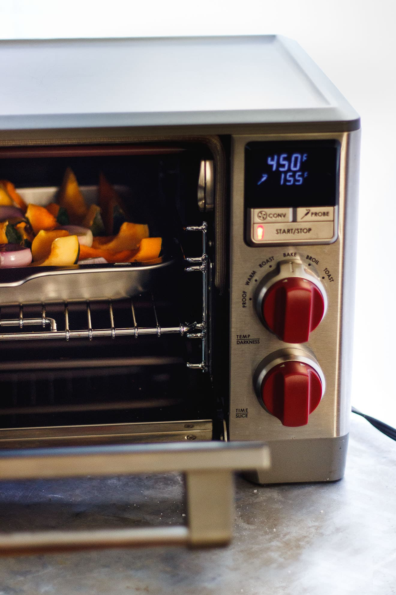 roasting acorn squash in a toaster oven