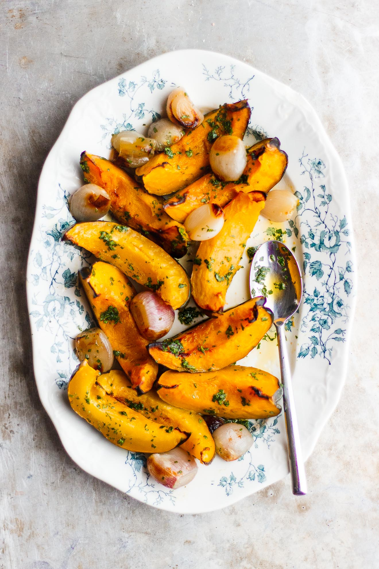 Roasted Acorn Squash with Shallots and Parsley Oil