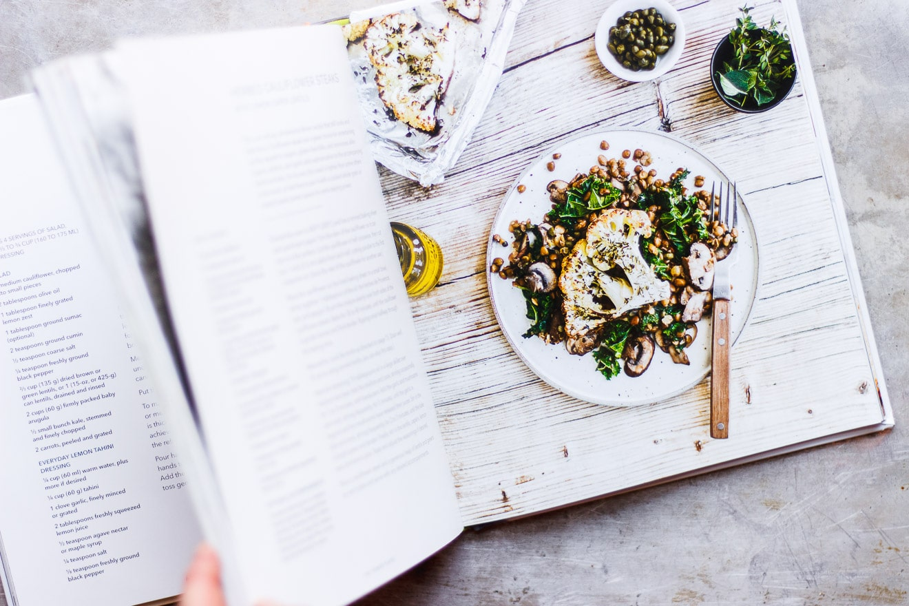 Herbed Cauliflower Steaks with Everyday Lemon Tahini Dressing   Herbed cauliflower steaks with lemon tahini dressing. A simple weeknight meal that is naturally gluten-free, vegan, low-carb and keto-friendly.