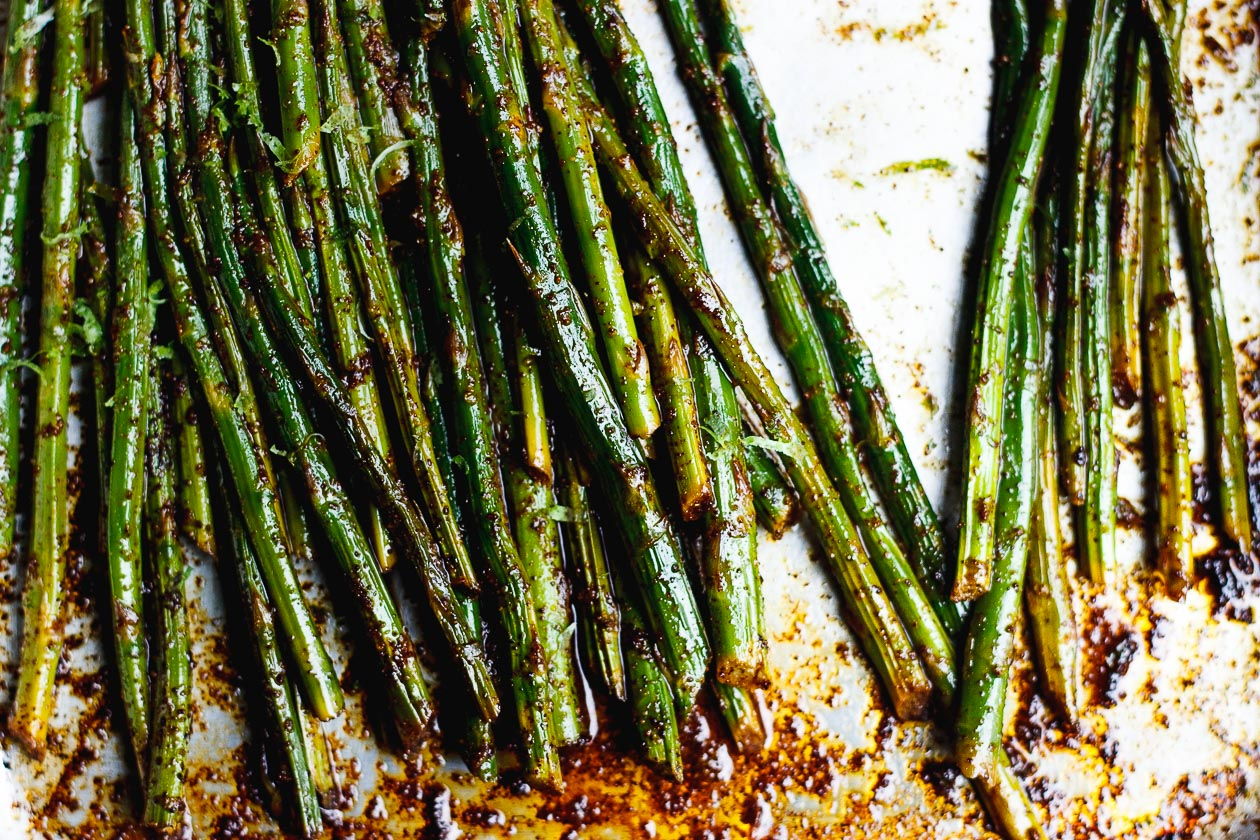 roasted asparagus and lime zest
