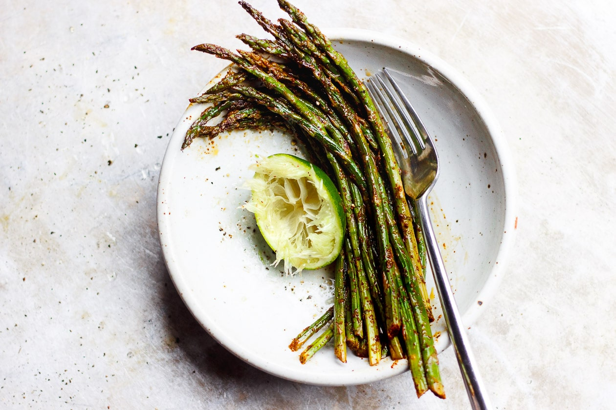 roasted asparagus in a bowl
