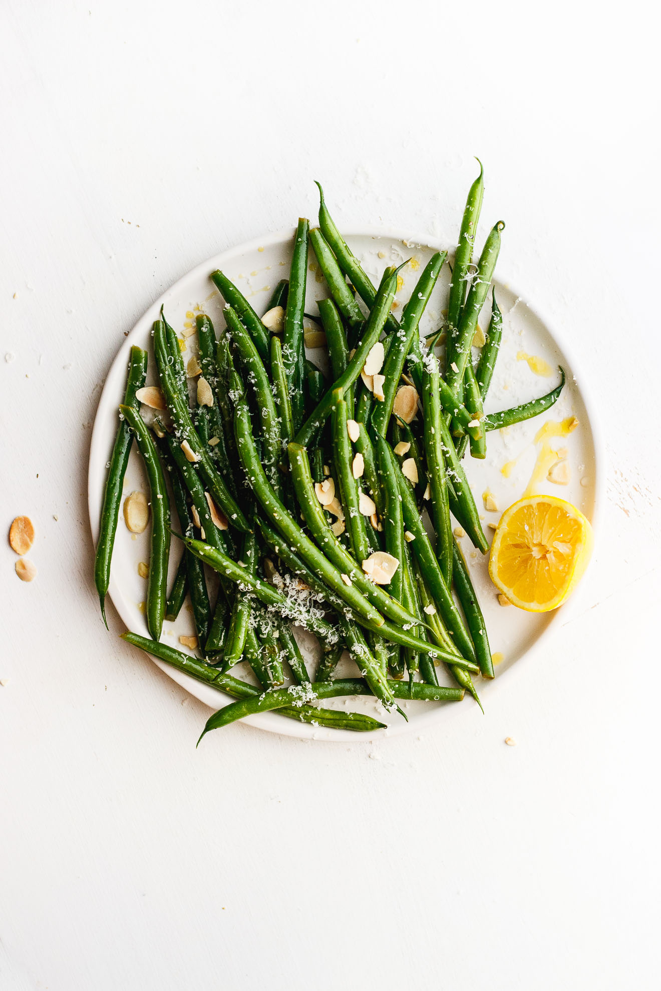 Lemony Green Beans with Toasted Almonds + Parmesan