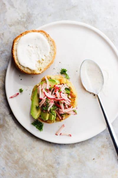 Romanesco Veggie Burger with Herby Lemony Radish Slaw