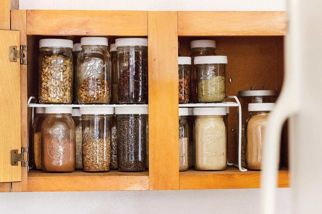 jars with pantry items on a shelf