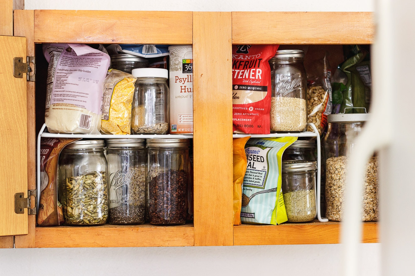 messy unorganized pantry shelf