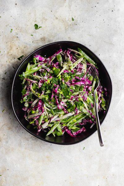 Broccoli Stem Slaw with Snap Peas + Basil Cilantro Aioli
