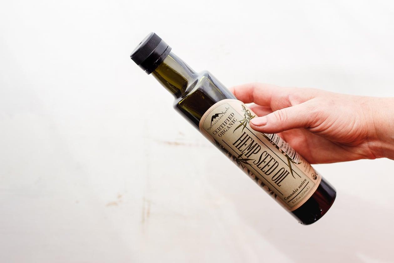 bottle of mountain rose hemp seed oil