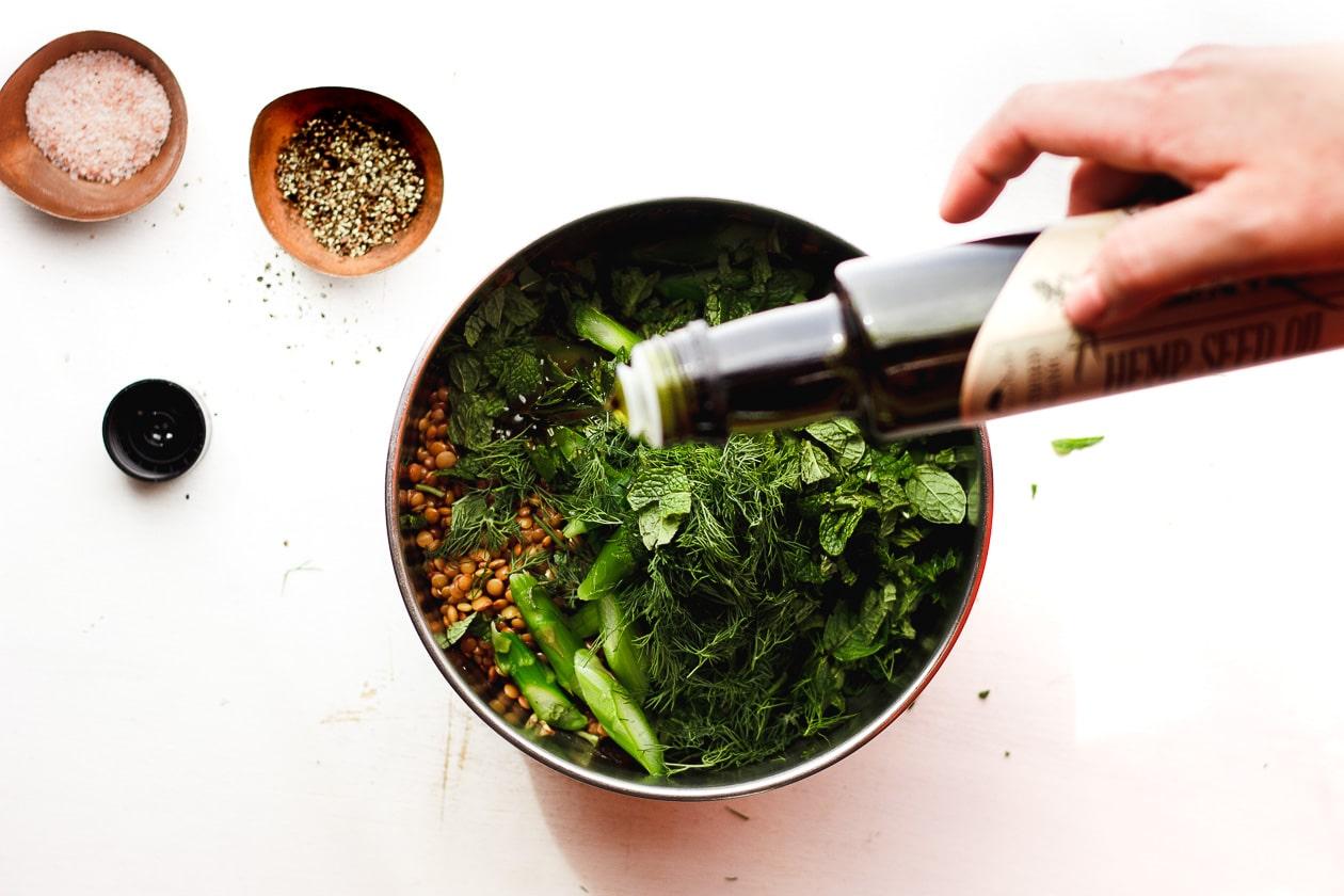 hemp seed oil on a salad