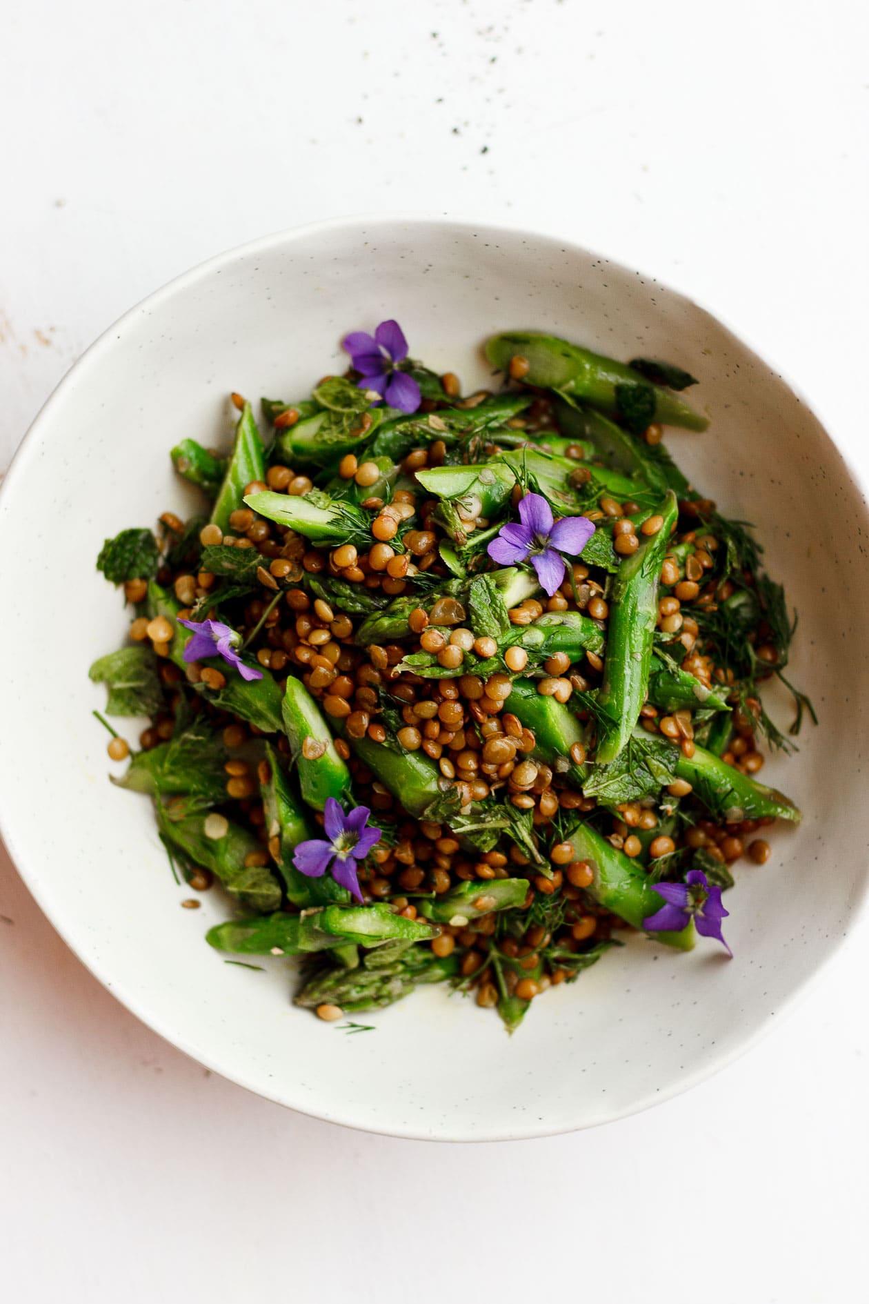 herb lentil and asparagus salad with violets
