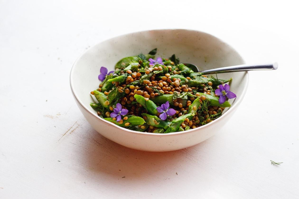 asparagus lentils and edible flower salad