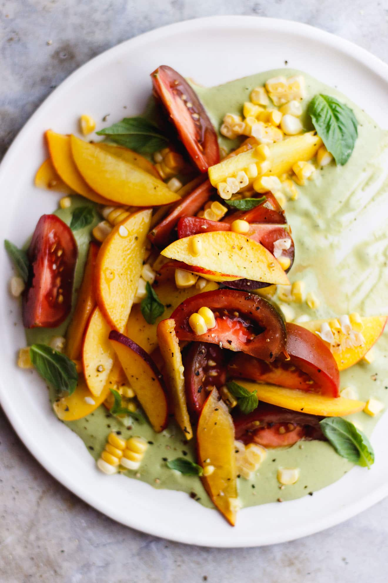 TOMATO PEACH SALAD WITH CREAMY BASIL SAUCE