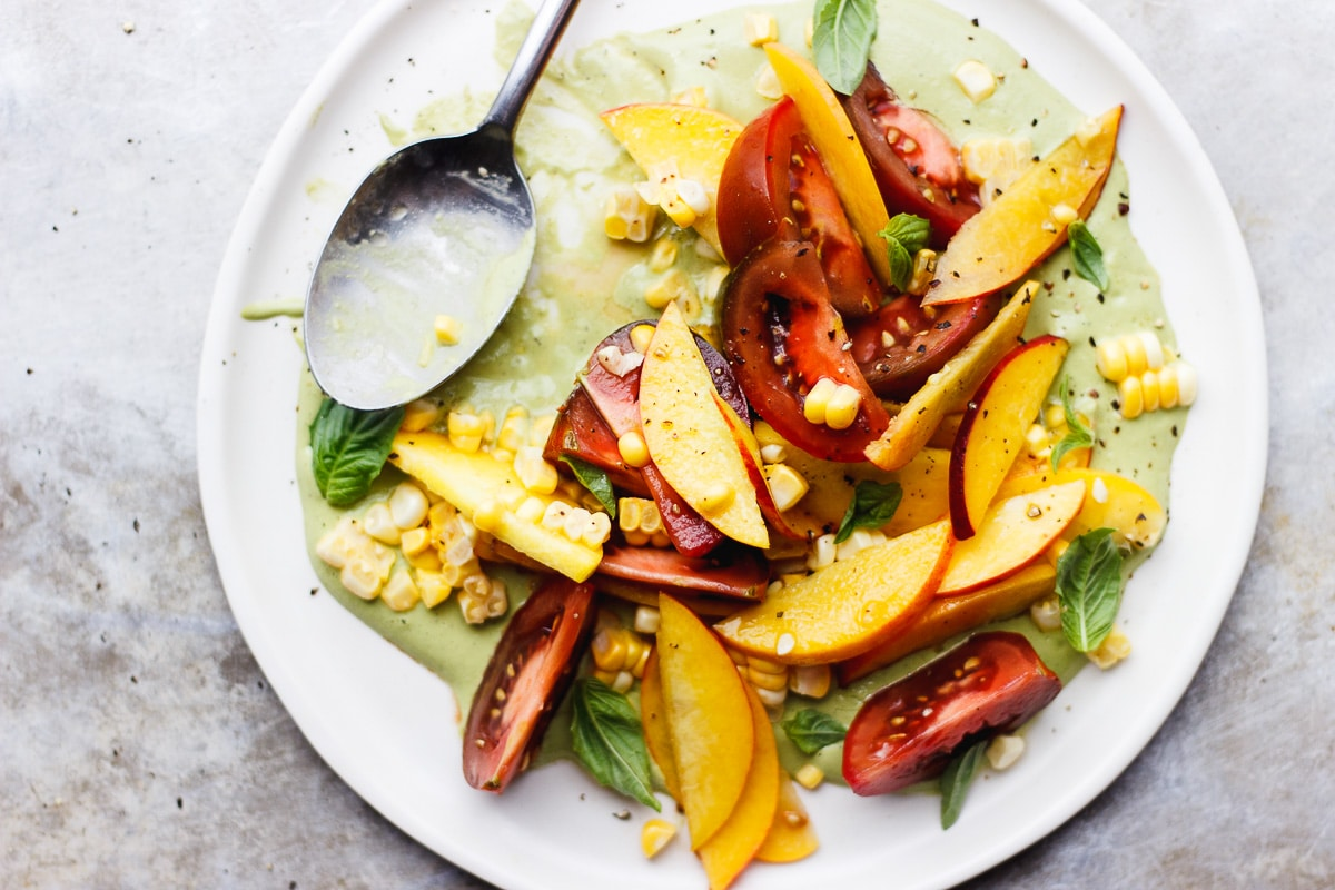 tomato and peach and corn salad