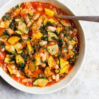 Zucchini Stew with Tomato Sauce and White Beans