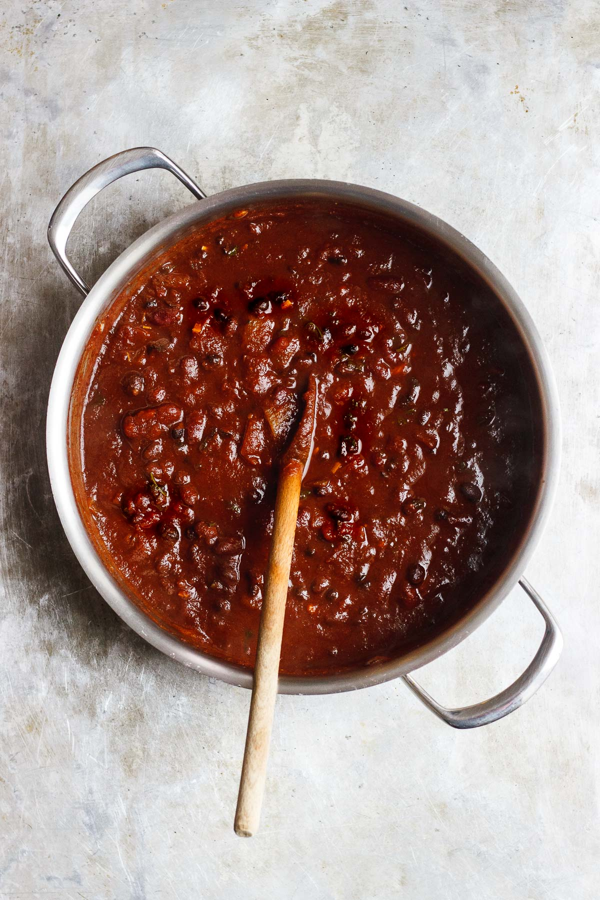 large pot of vegan chili