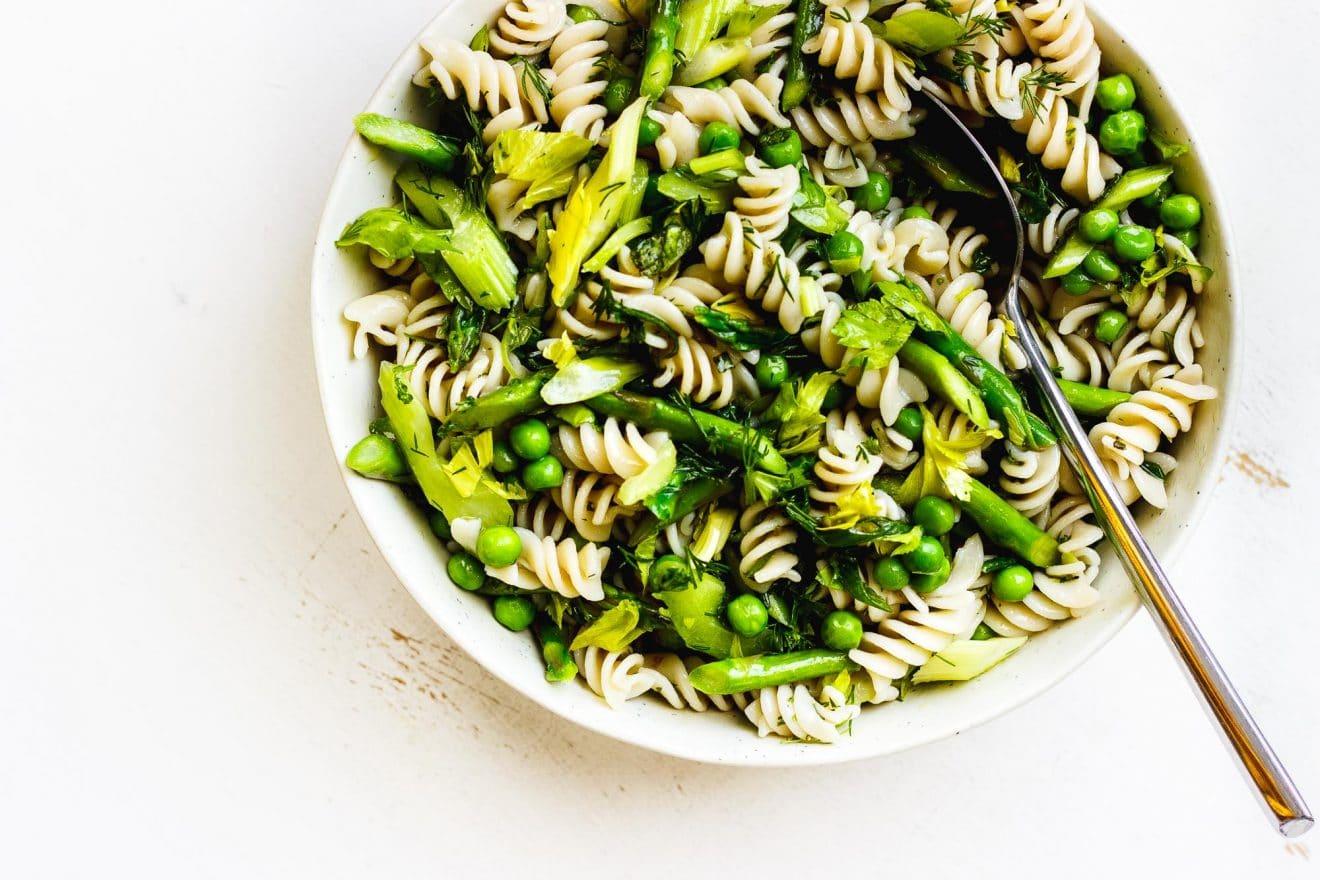 spring pasta salad in a bowl