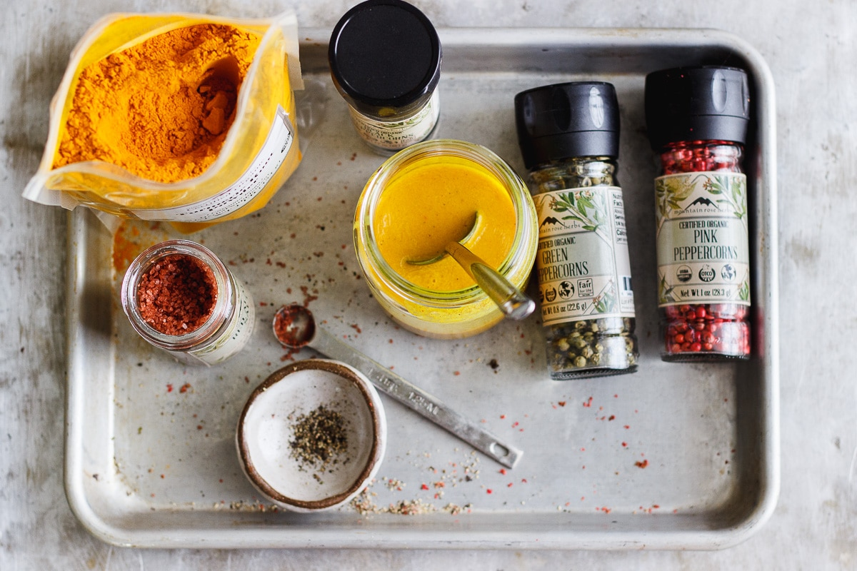 turmeric and spices on a tray