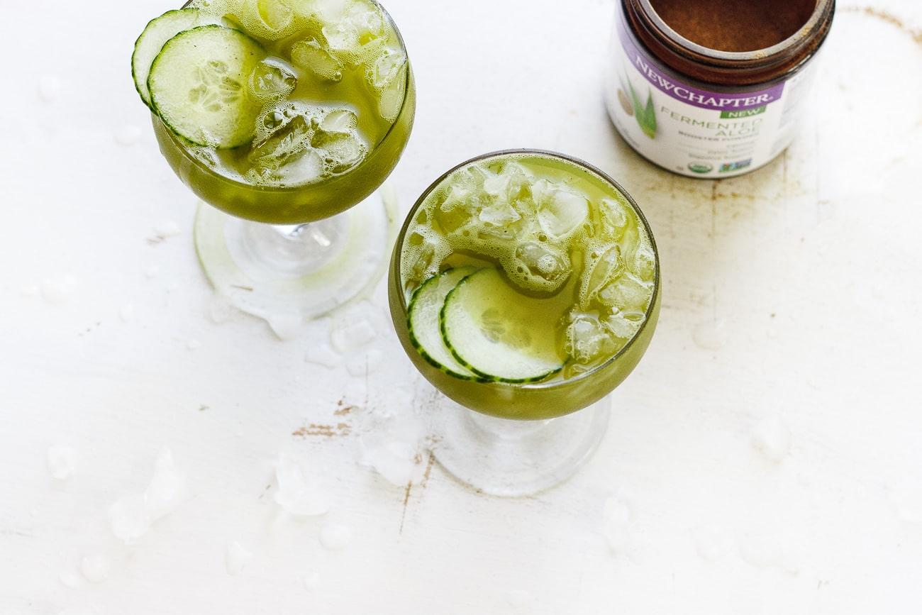 cucumber agua fresca in a martini glass