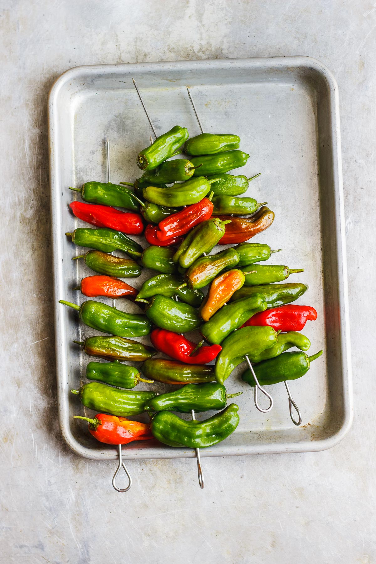 shishito peppers on a tray