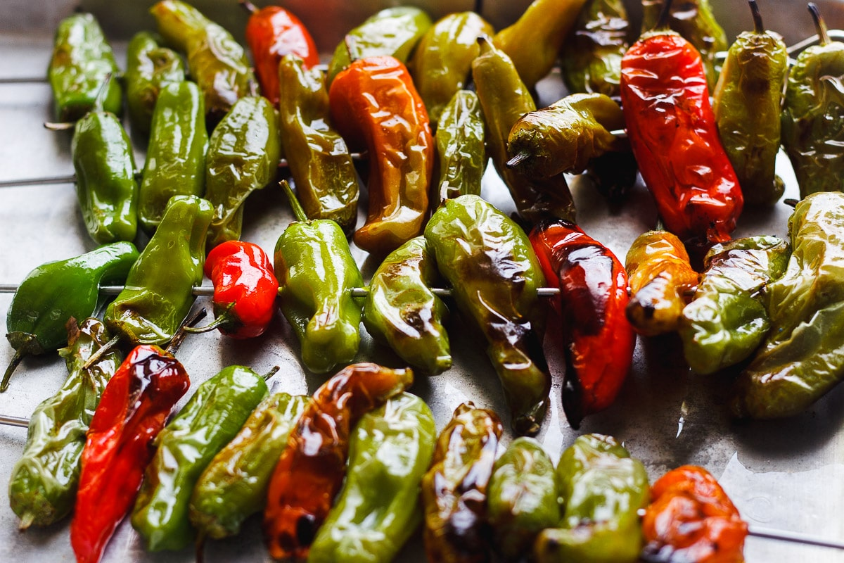 cooked shishito peppers
