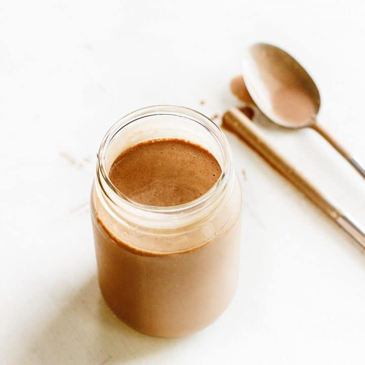 chocolate protein shake in jar