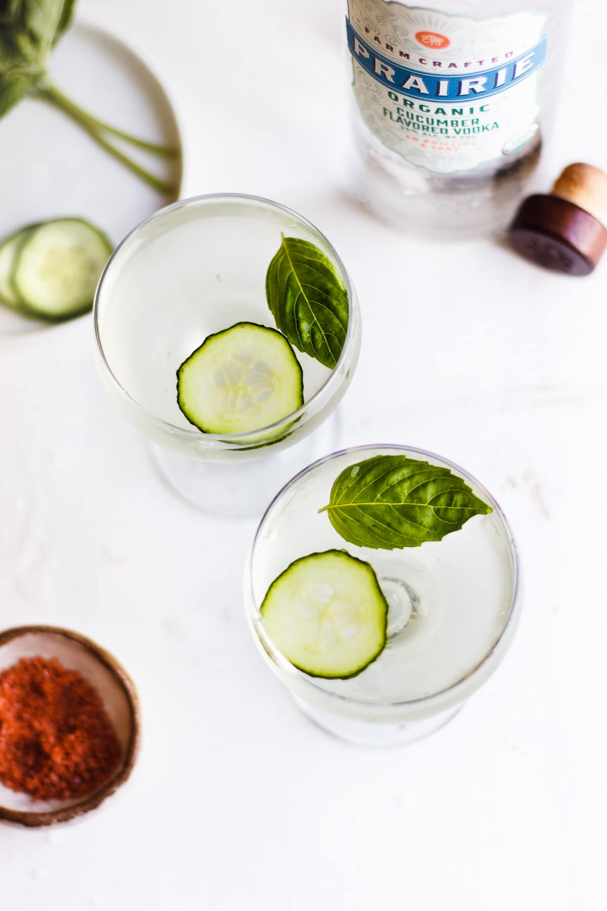 CUCUMBER BASIL MARTINI WITH RED SALT