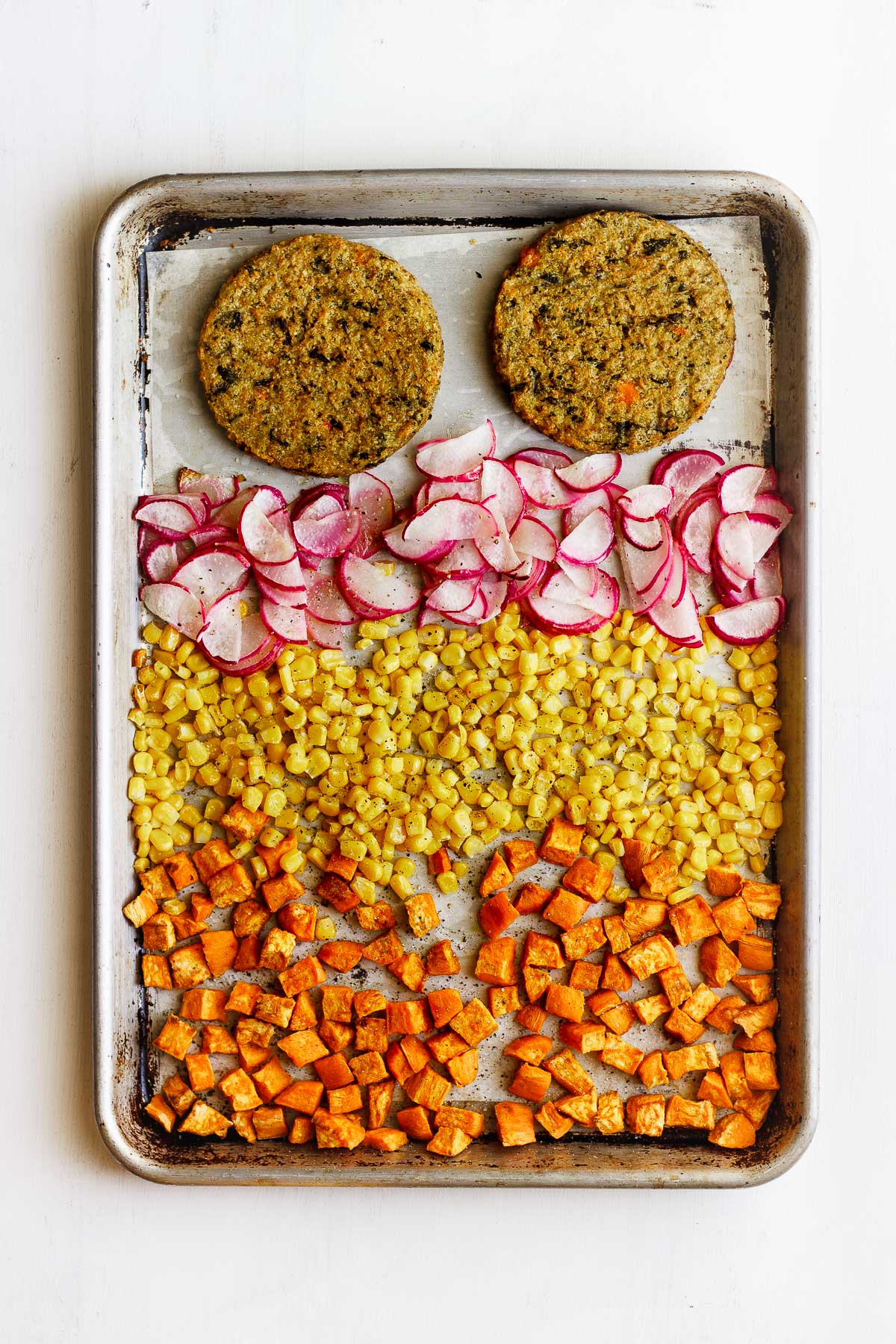 veggie burger sheet pan meal