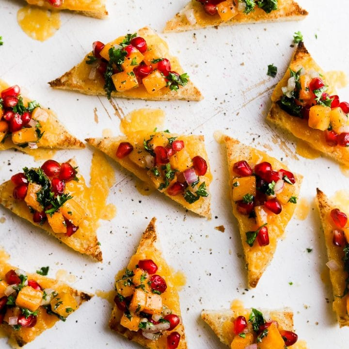 Holiday Toast with Cheddar and Pomegranate