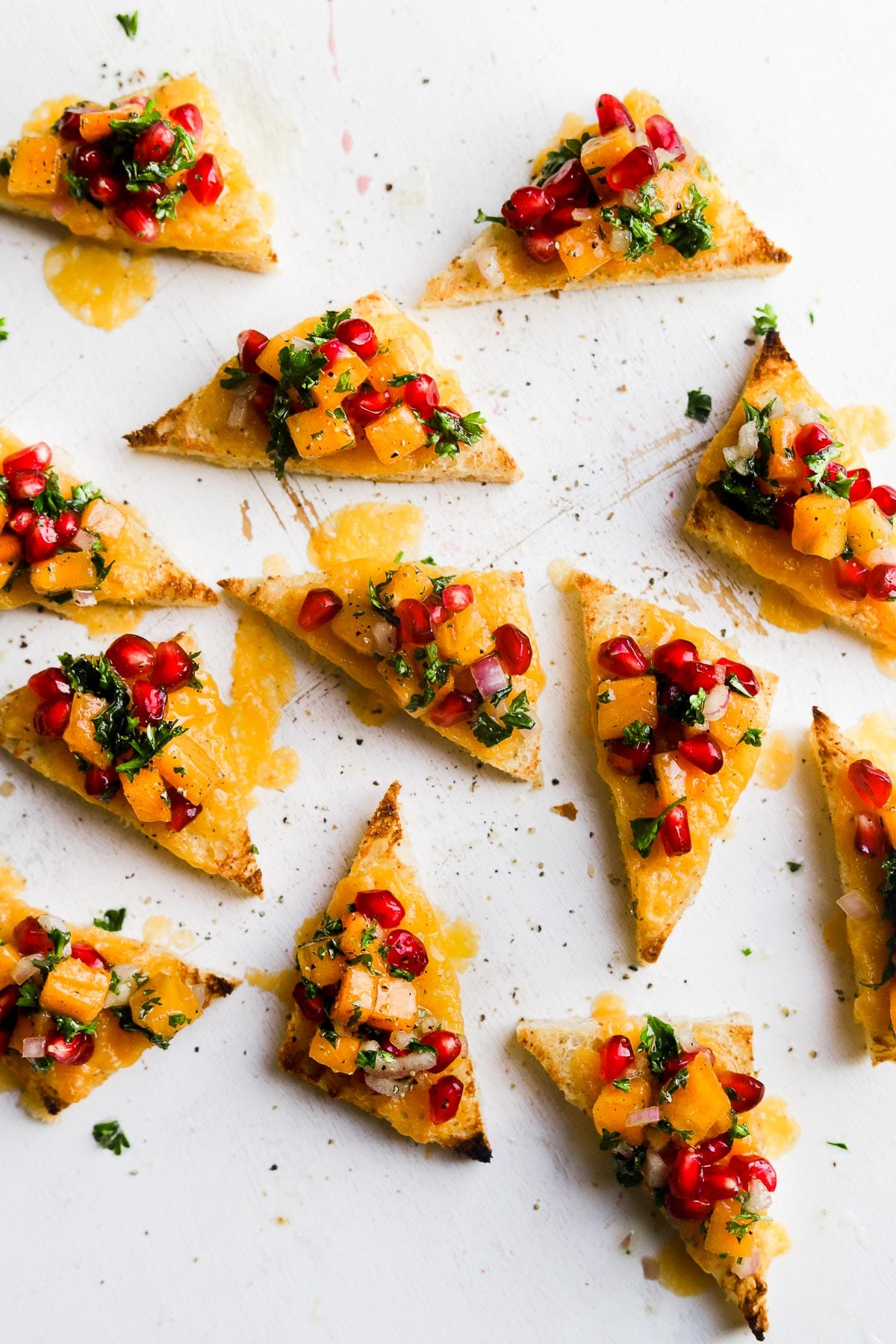 holiday toasts with pomegranate