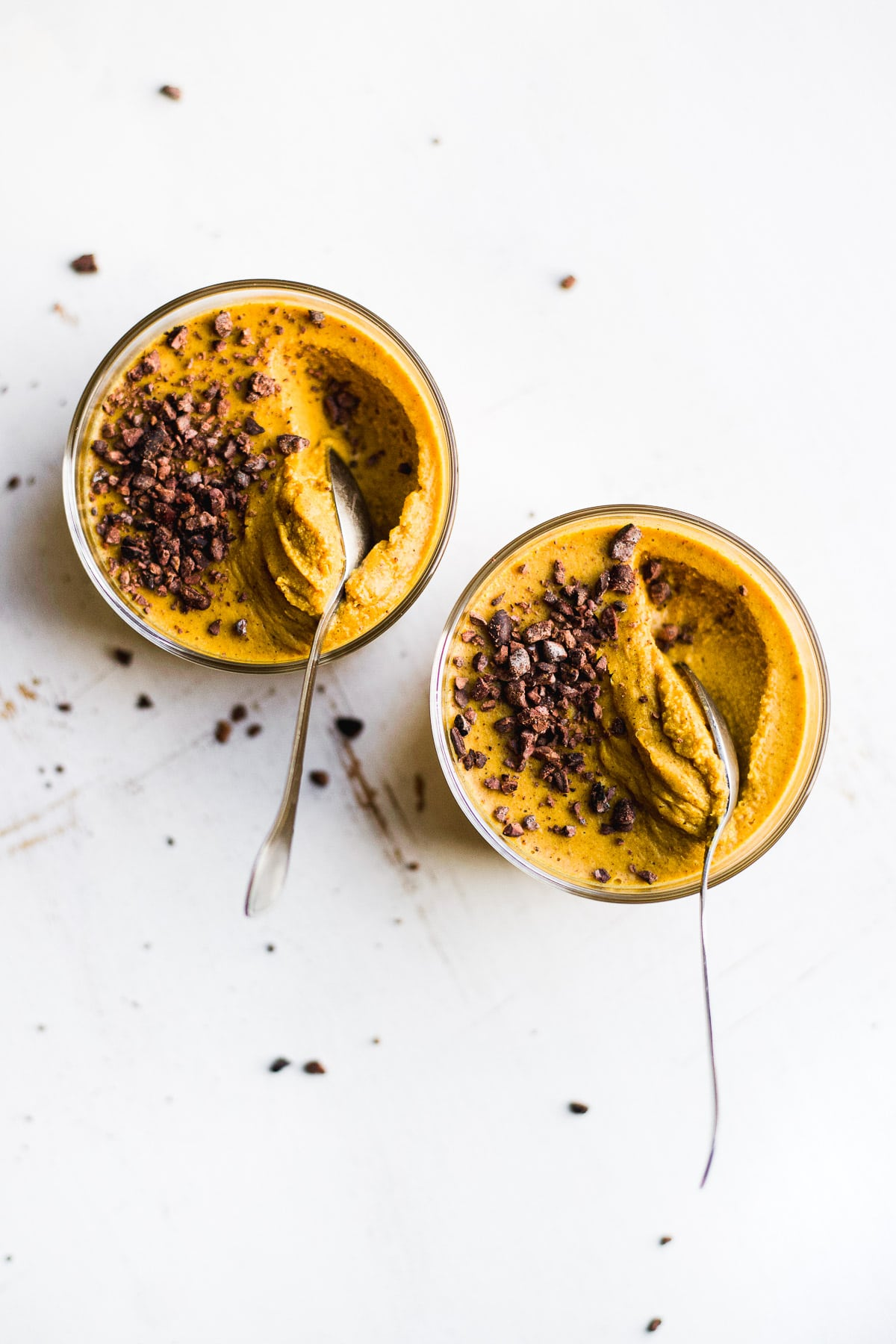 vegan pumpkin pudding with cacao nibs