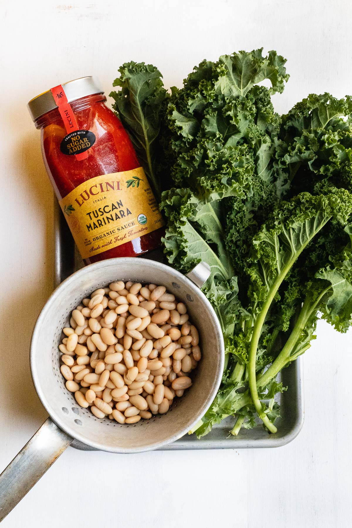 lucini sauce with kale and white beans