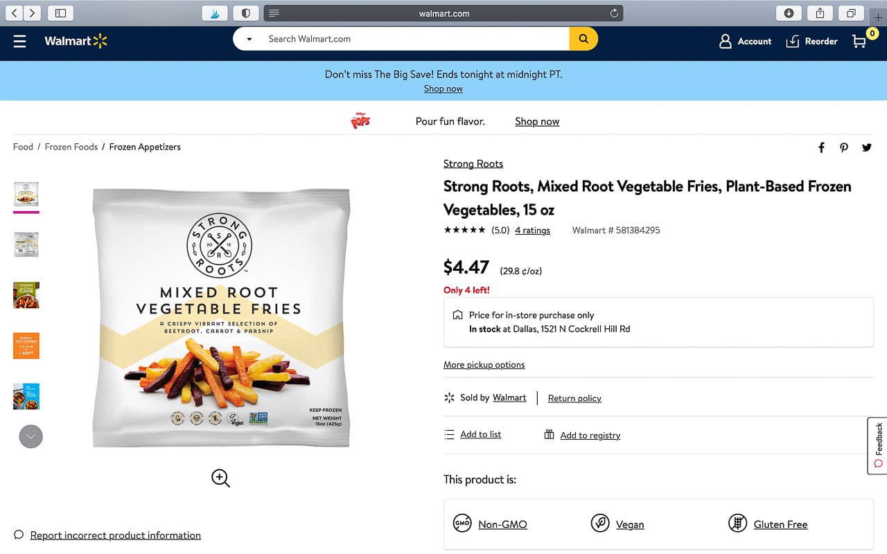 strong roots sold online at walmart