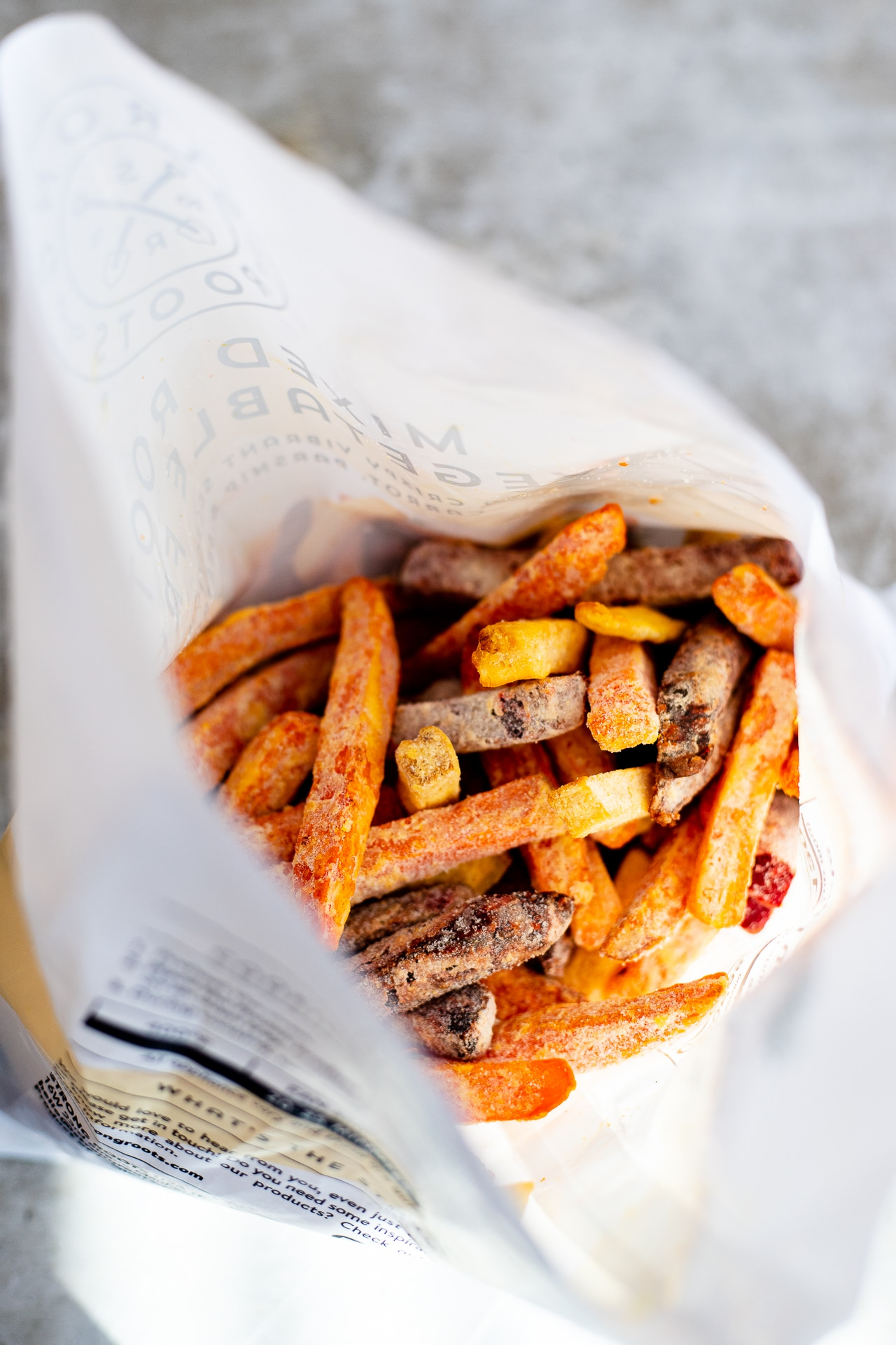 strong roots root vegetable fries open in bag
